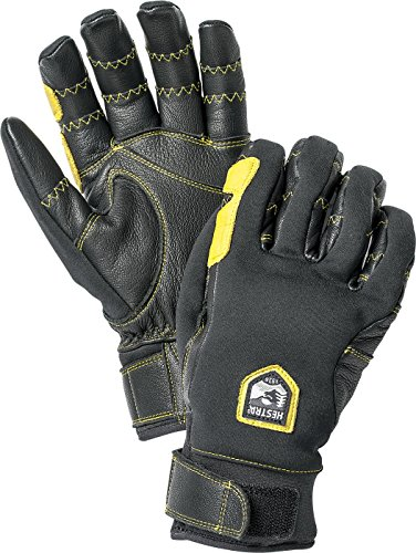 Hestra Outdoor Work Gloves: Ergo Grip Riding Cold Weather Gloves, Black/Off White, 9