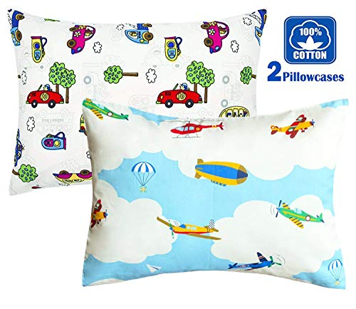 FUMAN 100% Cotton Cartoon Toddler Travel Pillowcase - Cuddle Collection for Boys or Girl,for 13x18,12x16 Pillow,Double-Sided Different - Cars and Airplanes,Free Travel Package (2 ()