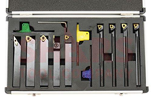 Shars 1/2'' x 1/2'' x 3.5'' Turning Tool Holder & 3/8'' x 5'' Boring Bar 9pcs Set by Gogad