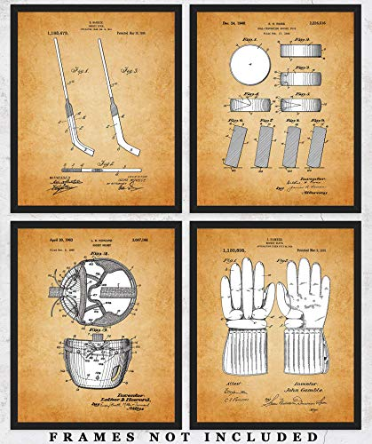 Original Hockey Patent Art Poster Prints - set of 4 (Four) Unframed Pictures - Great Wall Art Decor Gifts for Sports Fans!