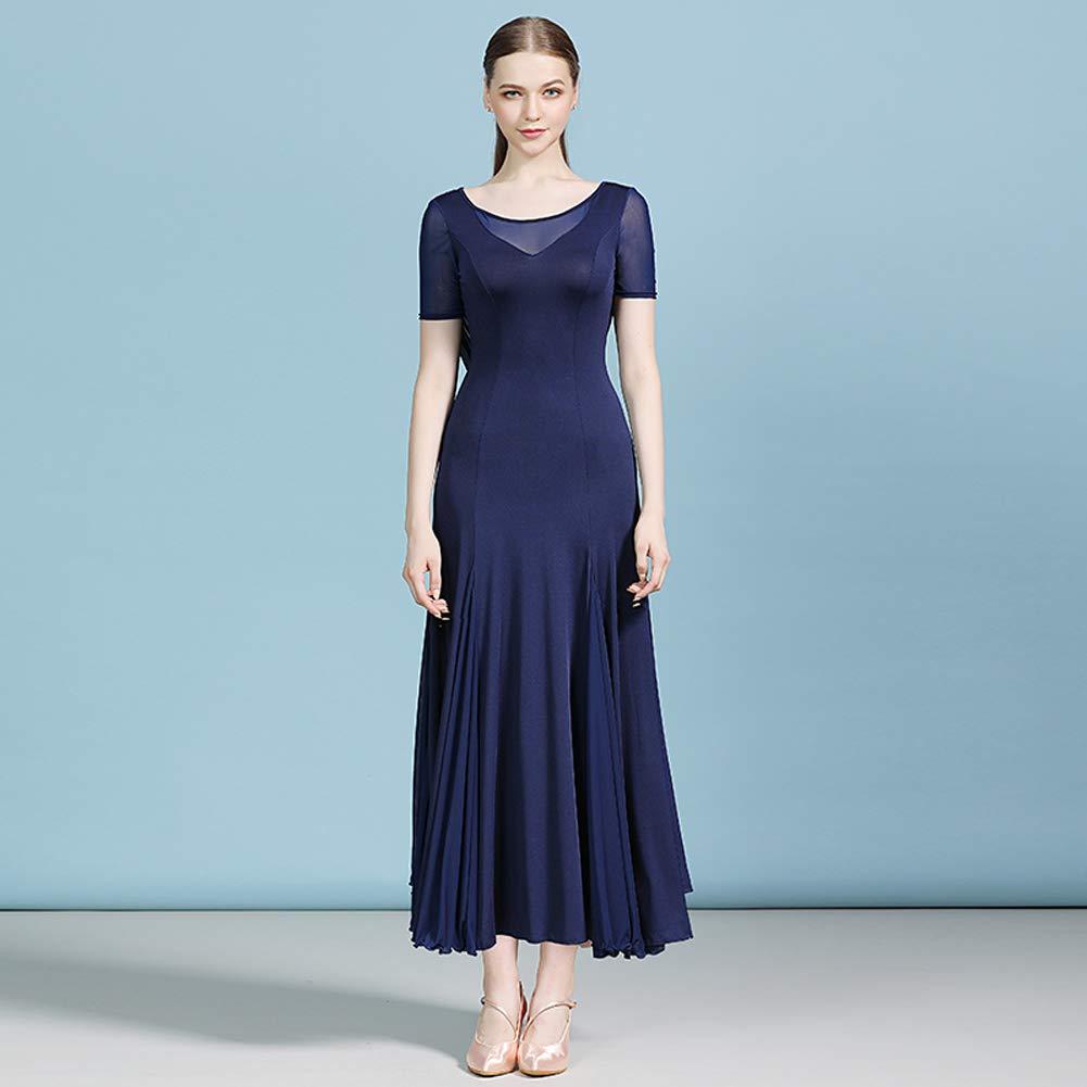YUMEIREN Solid Color Back Frills Ballroom Dance Dress Modern Dance Flamenco Waltz Tango Costume