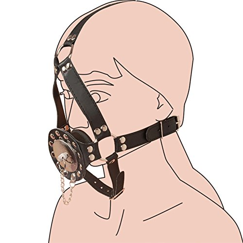 EDTara Strap On Open Mouth Gag Plug with Stainless Steel Cover Harness Restraints Leather Adjustable Straps Deep Throat Blow Job Fetish Sex Toys for Couple Sex Game by EDTara