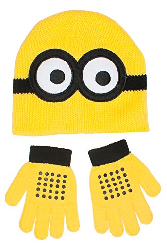 [Despicable Me Minion Face Knitted Winter Beanie Hat and Gloves Set, Age 2-5] (Despicable Me Minion Hats)