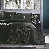 Black Dark Luxury Silk Bedding Set. Include Silk Duvet Cover, Silk Pillow Sham and Silk Fitted Sheet. Satin Silk, Silk Blend Fabric. No Comforter or Duvet Insert Included. King Size.