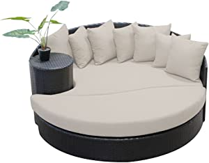 TK Classics Beige Newport Circular Sun Bed Outdoor Wicker Patio Furniture