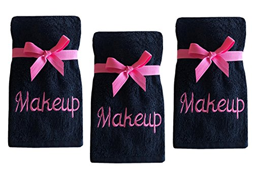 (Luxury 100% Cotton Makeup Removal and Cleansing Embroidered Wash Cloths by Home Bargains Plus, New Colors, Set of 3 Make-Up Wash Cloths, Black with Pink Embroidery)