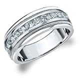 Eternity Wedding Bands LLC 14K White Gold Diamond Men's Polished Milgrain Band (1.0 cttw, H-I Color, I1-I2 Clarity)