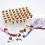 Wowlife 50pcs 0.5ml Vials Clear Glass Bottles with Corks Miniature Glass Bottle with Cork Empty Sample Jars Small 18x10mm by Topluck