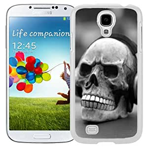 Unique and Fashionable Cell Phone Case Design with Human Skull Piercing Headphones Galaxy S4 Wallpaper in White