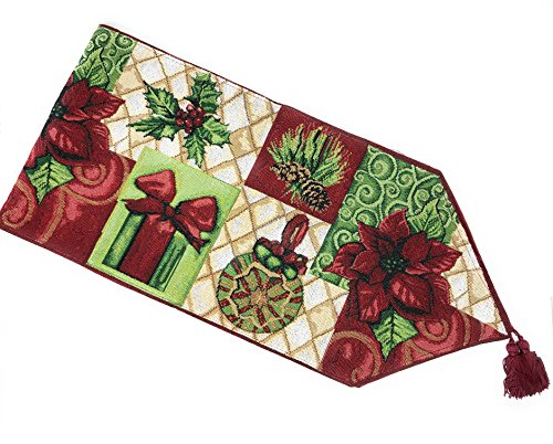 """Tache Decorative Christmas Poinsettia Elegant Holiday Tidings Tapestry Table Runners, 13 x 72"""""""