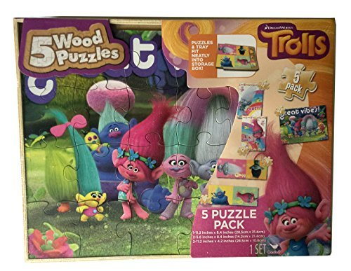 DreamWorks Trolls 5 Wood Puzzle Pack for Children by (Into The Woods Characters Costumes)