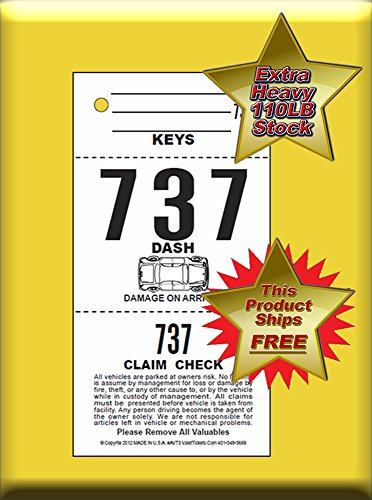 (2,000 Tickets) 3 Part Valet Parking Tickets, Valet Tags, 110lb Card Stock White, Car diagram on front