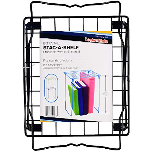 LockerMate Wire Stac-A-Shelf Stackable Wire Locker Shelf, 12 Inches, Black Color School Supplies by LockerMate