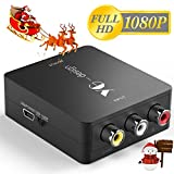 RCA to HDMI, Yuangao RCA Composite AV CVBS to HDMI Audio Video Mini Converter Adapter Full HD 1080P Support PAL/NTSC with USB Charge Cable for PC Laptop Xbox PS2 PS3 TV STB VHS VCR Camera DVD, blac