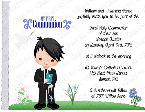 Personalized Communion Invitations (communion boy2002) (sold in packs of 12)
