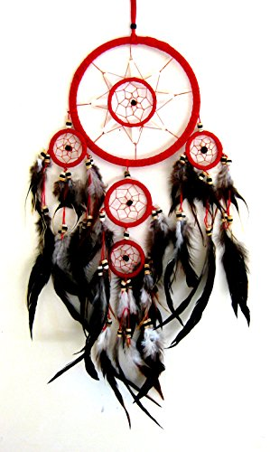 dream-catcher-traditional-native-style-red-suede-dreamcatcher-with-bone-beads-feathers-28-long-x-8-d