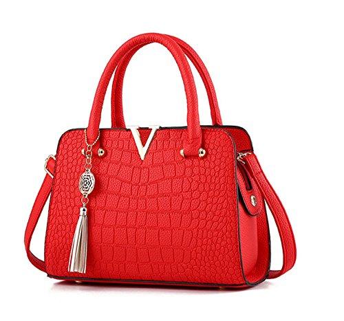 Handbag Shoulder Top Pu Womens Tote Bags Purse Vincenza Leather Uk Red handle Designer Bag qWSfnqZ8