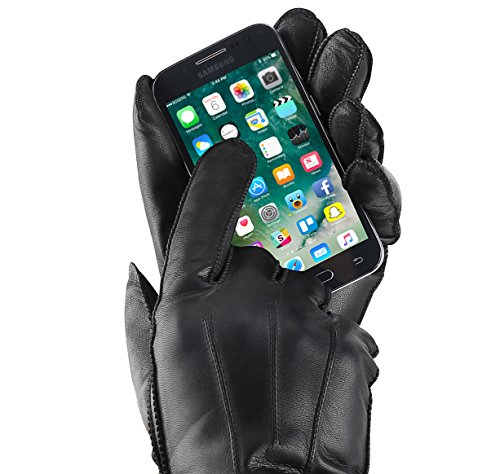 Isotoner Men's Smartouch Stretch Leather Glove with Center Palm Vent, Black, - Palm Centre