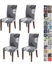 JOTOM Dining Chair Covers Seat Protector Stretch Removable Soft Spandex Decoration Seat Slipcovers for Home Dining Room Hotel Ceremony Banquet Wedding Party (Grey White Leaf, Pack of 4)