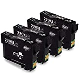MIROO Remanufactured 220 220xl Ink Cartridge High Capacity 4 Black, Used with WF-2760 WF 2650 WF-2750 WF-2660 WF-2630 XP-320 XP-420 XP-424 Printer
