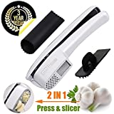Garlic Press & Slicer 2 in 1 - GiniHome Garlic & Ginger Mincer, Cleaner and Silicone Tube Peeler - Slicing and Grinding Friendly, Easy To Clean And Highly Durable.