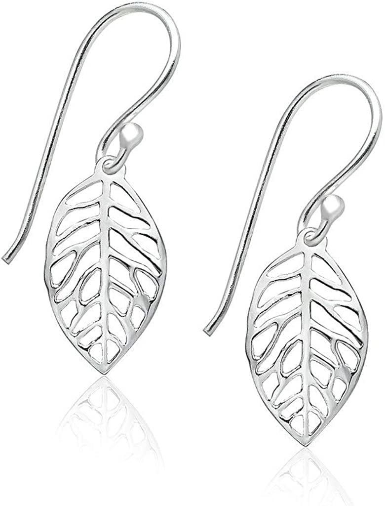 Big Apple Hoops - High Polish Sterling Silver Delicate Filigree Leaf Small Drop Dangle Earrings Made from Real 925 Sterling Silver Modern Design Jewelry Fashion Gifts for Men, Teens, Women