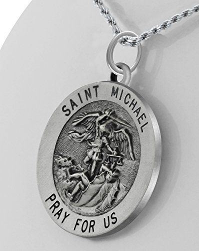 1.0in Round 0.925 Sterling Silver St Saint Michael Medal Pendant Necklace
