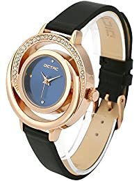 Dictac Wrist Watch Women Fashion Analog Black Leather Leisure Dress Watch