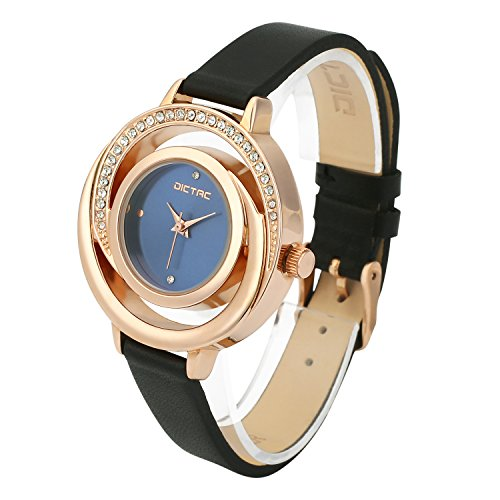 Dictac Wrist Watch Women Fashion Analog Black Leather Leisure Dress Watch (Leisure Suits For Sale)
