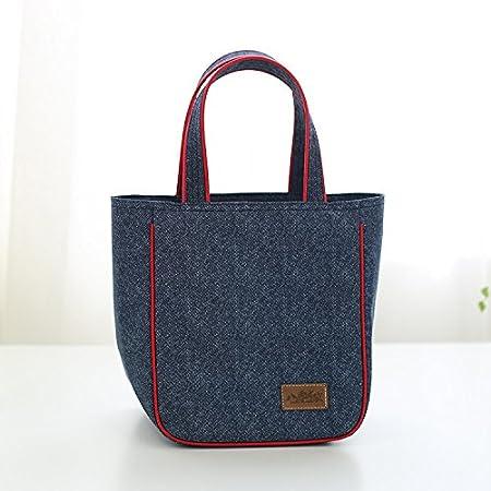 Washable Denim Zip Aluminum Film Pack Cooler Bag Lunch Box Bag Set Set of 2 Sizes Bear Motion Insulated Lunch Bag