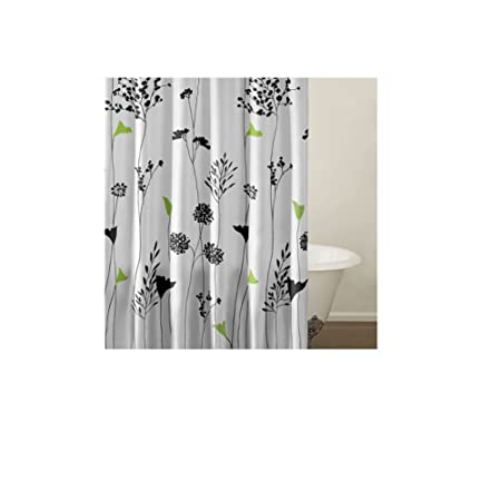 1 Piece Girls Pretty Asian Lilly Shower Curtain Beautiful Floral Bathroom Pattern Black Green