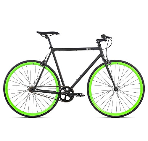 6KU Paul Fixed Gear Bicycle, Black/Green, (Fixed Gear)