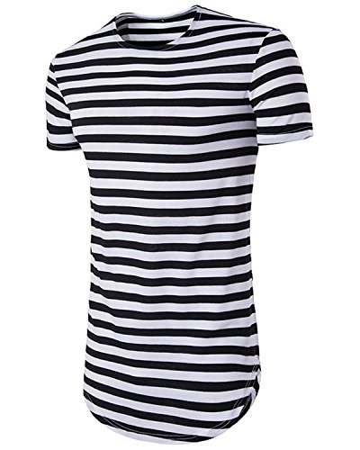 JOLIME Men's Hipster Hip Hop Short Sleeve T-Shirt Shaped Swag Longline Striped Tee Tops