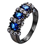 F&F Jewelry Blue Sapphire White Black Gold Filled For Women & Men Engagement Wedding Bridal Rings