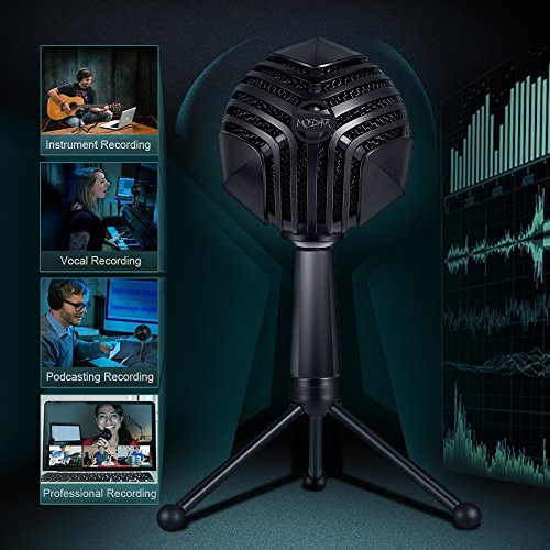 MODAR USB Cardioid Microphone Stand, Studio Broadcasting Recording Condenser Mic Desktop Professional with LED Power Indicatior, Volume Adjuster, Mute Button, USB Port and Headphone Jack by MODAR (Image #7)