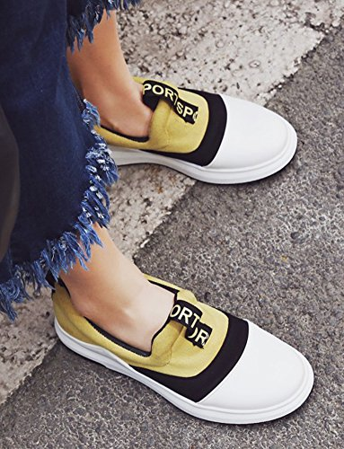 Aisun Womens Casual Color Block Punta Tonda Spesso Suola Piatta Slip Slip On Sneakers Shoes Yellow