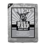Bull-Tarp Super Heavy Duty, Silver/Black, Waterproof, Tent Shelter, Tarpaulin, Fire Wood Cover, Multi-Purpose Heavy Duty Poly Tarp, Reinforced Grommets Every 18'' (20X40)