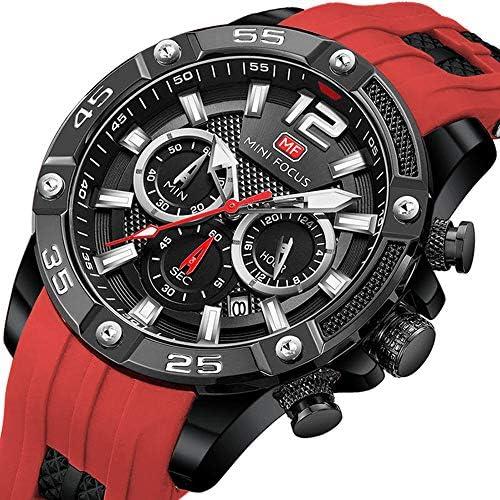 Mens Watch Chronograph Waterproof Sport Analog Quartz Watches Silicon Strap Fashion Wrist Watches for Men WeeklyReviewer