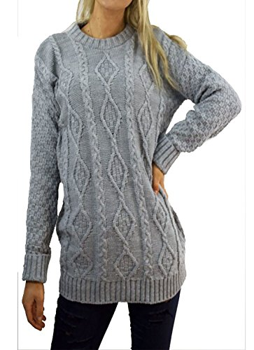 Top Small Grey Manches Cable Pour Chunky Tricot Large Longues Femmes Pull Islander Womens Pullover Fashions w7xYqPt1