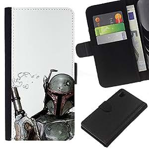 JackGot ( Boba Fett & Gun ) Sony Xperia Z1 L39 la tarjeta de Crédito Slots PU Funda de cuero Monedero caso cubierta de piel
