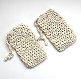 Set of 2 Handmade Crochet Cotton Soap Saver Bags Beige Drawstring Pouch Washcloth