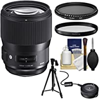 Sigma 135mm f/1.8 ART DG HSM Lens with USB Dock + 2 Protector/ND Filters + Tripod + Kit for Canon EOS Digital SLR Cameras
