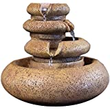 Sunnydaze Three Tier Flowing Tabletop Fountain with LED Lights, 8 Inch Tall