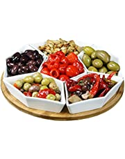 """Elama Signature Condiment Server Set with a Bamboo Lazy Suzan Serving Tray, 12"""" L and W, 7 Piece"""