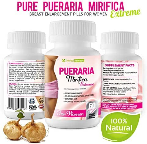 Pueraria Mirifica Breast Enlargement Pills – 100% Natural Herbal Vaginal Health Supplement, Menopause Relief, Increase Bust & Cups Size, Improve Hair, Skin & Nails Collagen 60 Veggie Capsules