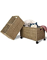 Wicker Storage Baskets On Wheels   Straw Wire Willow Woven Baskets for Kitchen, Pantry, Home Organization and Decor