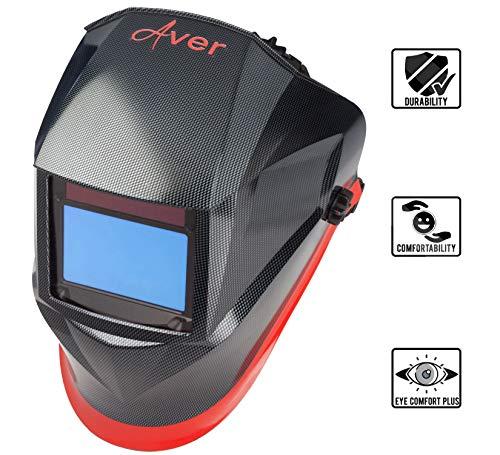 AVER Welding Helmet | Auto Darkening Welder Helmet 4C Lens Technology Solar Powered with Highest Optical Class (1/1/1/1) Adjustable Shade Range 4/9-13 for Mig Tig Arc Welding