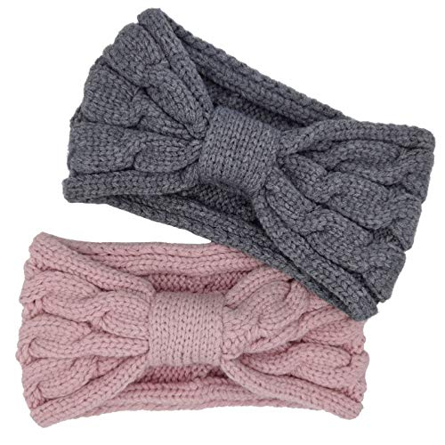 Turban Headbands for Women Wide Head Wraps Knotted Elastic Teen Girls Yoga Workout Solid Color Hair Accessories, 2 Pack (Pink,Grey)