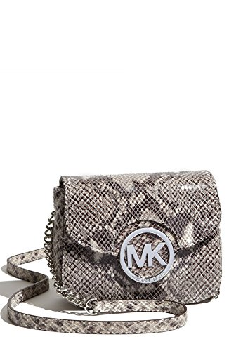 f6a007cb137f Amazon.com: NEW AUTHENTIC MICHAEL KORS FULTON SMALL CROSSBODY LEATHER BAG (Pearl  Grey Python Print Leather): Shoes