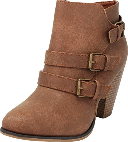 563d830f92 Cambridge Select Women's Buckle Strap Block Chunky Heel Ankle Booties,8 B(M)